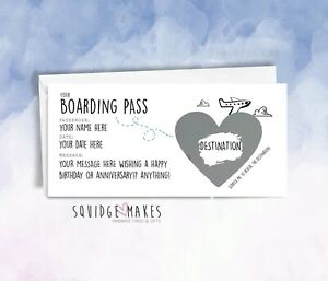 Personalised Boarding Pass Surprise scratch off Trip Reveal Gift iou holiday