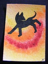 """ACEO Original Acrylic Paint & Pen Painting """"Year of the Dog #2"""" by NuoVo"""