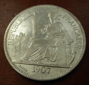 French Indo - China Vietnam 1907 Silver Piastre XF - AU