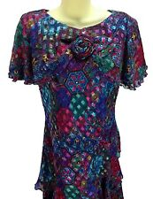 Patra Sz 8 abstract floral party dress cocktail evening 3 tier bright colorful