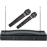 KARAOKE DJ PRO DUAL 2 MIC VHF CORDLESS WIRELESS MICROPHONE SYSTEM NEW