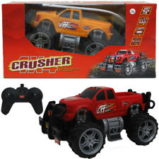 Remote Control Big Wheel Truck Rechargeable Battery Crusher With Lights  Black