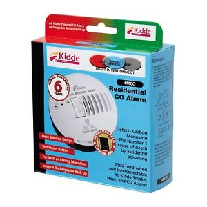 Kidde 4MCO Mains Powered Residential Carbon Monoxide Alarm Detector Hard Wired