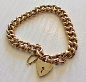 Beautiful Ladies Antique Rose 9CT Gold Bracelet & Padlock Rosey Bracelet