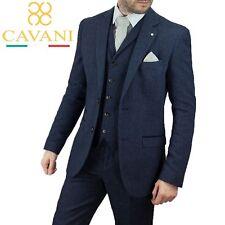 Mens Cavani Navy Wool Mix Peaky Blinders Herringbone Tweed Wedding 3 Piece Suit