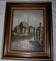 Vintage Original Nautical Landscape Oil Painting Ships Boat Dock Signed Sariano
