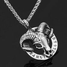 Church of Satan Sigil Big Baphomet Viking goat valknut Chain Necklace Pendant