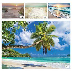 Vlies Fototapete Strand Meer Sonnenuntergang Landschaft Nordsee Palmen Karibik 1