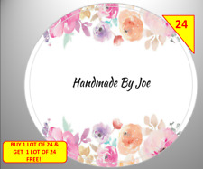 48 x 45mm Personalised Stickers Round Labels Flowers Floral Handmade By