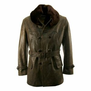 Mens Made to Measure Fur Collar Vintage Shearling Leather Pea Coat