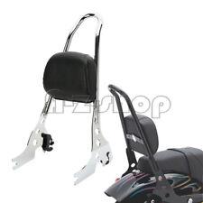 For Harley Sportster XL1200 883 Chrome Passenger Backrest Pad Sissy Bar Cushion