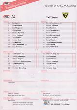 Opstellingen / Line-ups AZ Alkmaar v VVV Venlo 22-04-2012