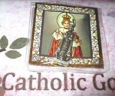 """Infant of Prague -  1 5/8"""" x 1/2""""  Silver Tone Metal Pocket Statue with case"""