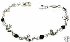 "Solid 925 Sterling Silver Marcasite & Black Onyx Moon Star Bracelet 7"" L '"