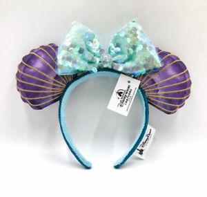 Disney Parks Mermaid Ariel Purple Iridescent Mickey Mouse Minnie Ears Headband