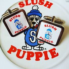 Unique SLUSH PUPPIE CUFFLINKS chrome GIFT cool BOXED retro SLUSHIE drink 80s FAB