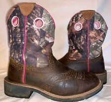 Womens 9 B ARIAT ATS FATBABY 10006854 Pink Camo Cowgirl Cowboy Western Boots