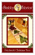 """Patchwork CHRISTMAS TREE Table Runner Pattern by Shabby Fabrics 12.5"""" x 53"""""""