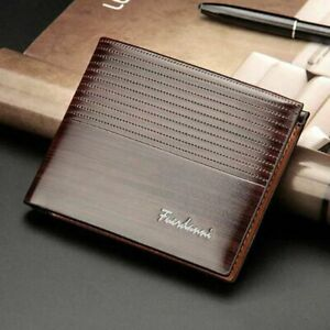 Mens PU Leather Wallet Brown Business RFID Blocking Credit Card Holder
