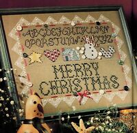 🎄 Folk Country Farm House MERRY CHRISTMAS SAMPLER Cross Stitch Chart De Selby
