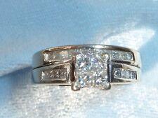 14K White Gold Set, 4, 2mm & 18, 1.5mm Princess Cut Diamonds TCW 1/2, Size 5