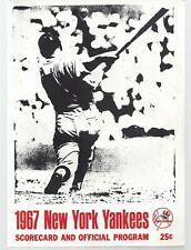 Vintage New York Yankees 1967 Scorecard and Official Program Clean
