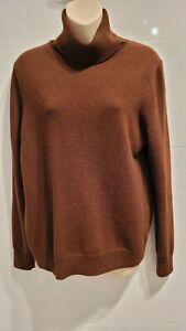 Amicale brown 100% cashmere fold over turtle neck jumper Size L