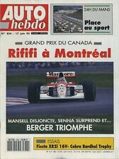AUTO HEBDO n°834 du 17 Juin 1992 GP CANADA 24h du MANS