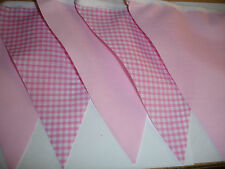 PINK GINGHAM AND PINK FABRIC BUNTING