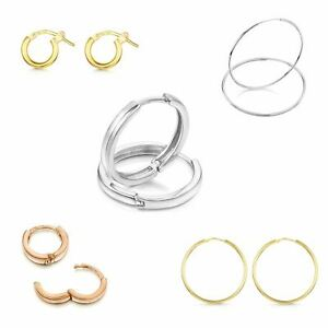 Amberta Round Real 925 Sterling Silver Hoops Earrings for Women Made in Italy