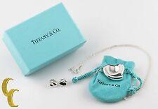 Tiffany & Co. Elsa Peretti Full Heart Pendant & Stud Earrings w/ Box & Pouch