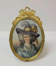 19th C. Miniature Portrait Painting on Porcelain, Gilt Ormolu Frame