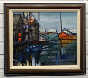 1960's Vintage ABSTRACT Signed MID-CENTURY MODERN Painting BOATS AT DOCK Artist?