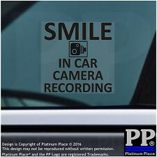 In Car Camera Recording Window Sticker-BLACK-Smile CCTV Sign-Car,Truck,Taxi,Cab