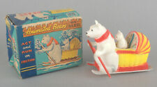 Vintage OK Toys Hong Kong Plastic Friction Animated Bears On Sled * BOXED *