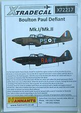 Xtradecal 1/72 X72217 boulton paul defiant mk i/ii decal set