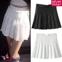 UK Womens Slim Thin High Waist Pleated Tennis Skirts Short Mini Dress Playful