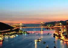 HONG KONG CITY NIGHT NEW A3 CANVAS GICLEE ART PRINT POSTER
