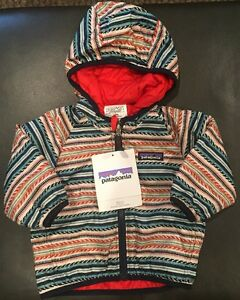 NWTs Patagonia Baby Boy's Reversible Puff-Ball Jacket. 3-6M. Fin Stripe/Red. $89