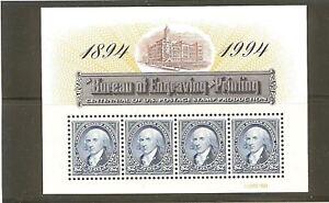 US Scott # 2875 Bureau of Engraving & Printing $2 Pane of 4 MNH