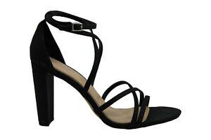 BADGLEY MISCHKA Womens Diora Open Toe Casual Ankle, Black Glitter, Size 8.0 zMhn
