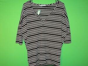 Maurices Womens Size S Small Striped Short Slv V Neck Shirt / Top NEW