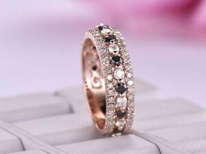 1Ct Round Cut Black Diamond Full Eternity Engagement Band 14k Rose Gold Finish