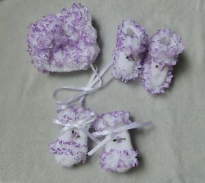hand knitted  baby girls bonnet bootees and mitten set 0/3 months white/ lilac