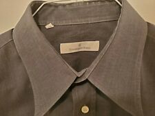 Mens ERMENEGILDO ZEGNA Shirt 16.5-35 in Navy Blue/Gray Cotton Point Collar