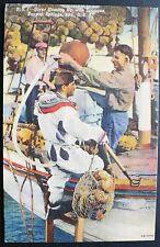 1940 Bell Helmet Diver Boarding Sponge Boat Tarpon Springs FL Sponge Bag & Rake