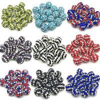 10MM Stripe Clay Disco Balls Czech Crystal Shamballa Beads Pave Rhinestone Beads