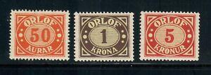 Iceland ORLOF 50 aur,1 kr and 5 kr. MNH