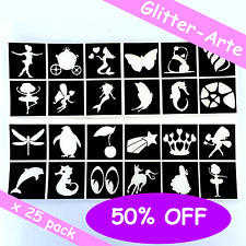 X 25 STENCILS For Glitter Tattoos Girls Princess Kids Body Art VALUE Pack TG6