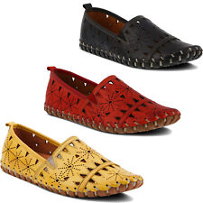 Women Spring Step Fusaro Loafer Leather Stitched Shoes  NEW